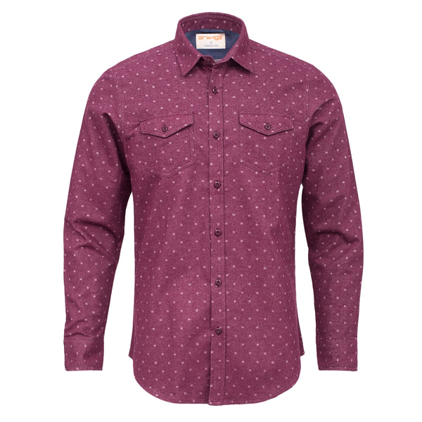 Grey Dot On Crimson Smart Fit Casual Full Sleeve Shirt-L