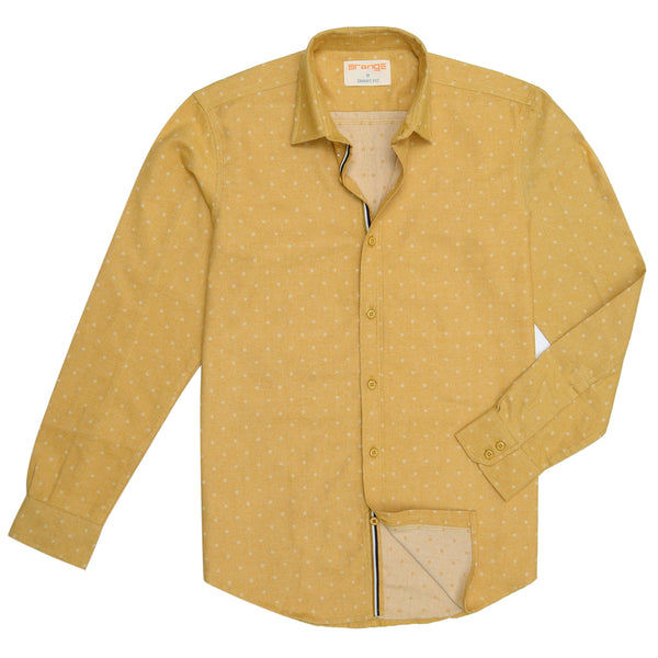 White Polka Dotted On Yellow Casual Full Sleeve Shirt-M