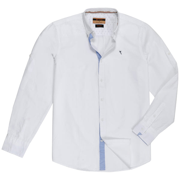 White Plain Full Sleeve Casual Smart Fit Shirt-M