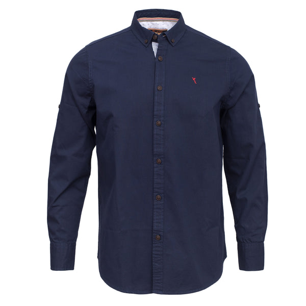 Navy Blue Smart Fit Button Down Casual Full Sleeve Shirt-L