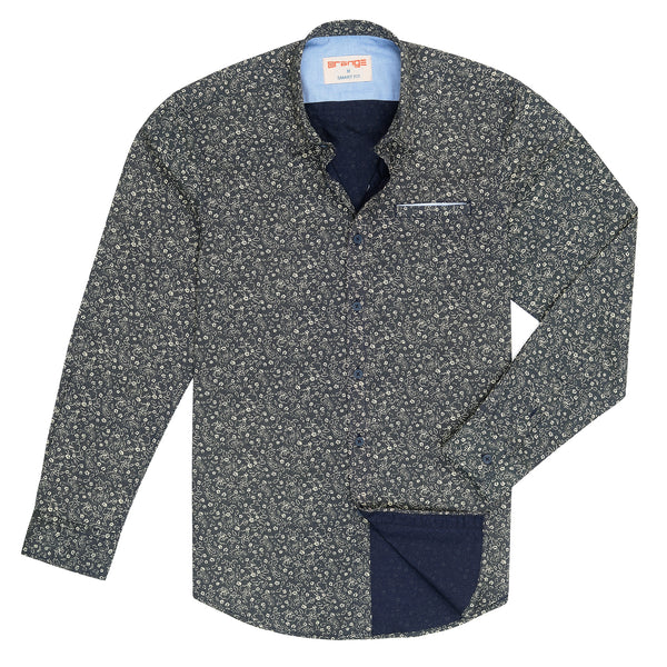 Foral Design On Navy Blue Casual Full Sleeve Shirt-L