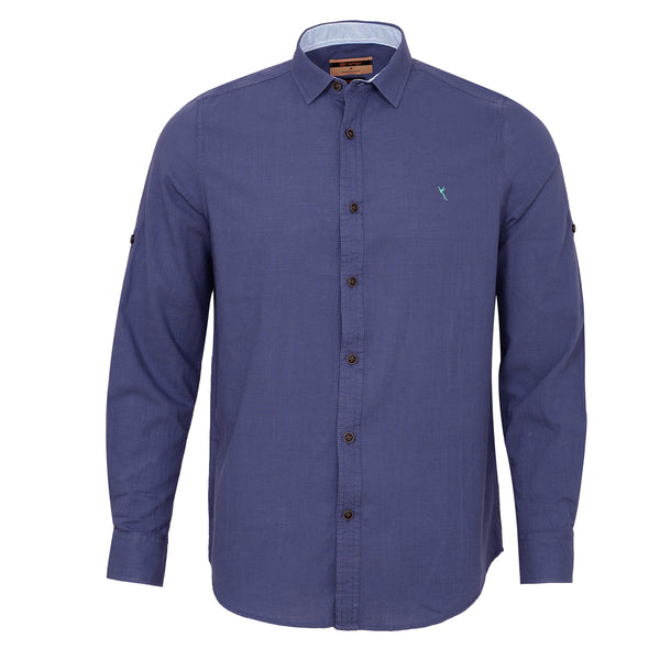Navy Blue Plain Casual Full Sleeve Shirt-M