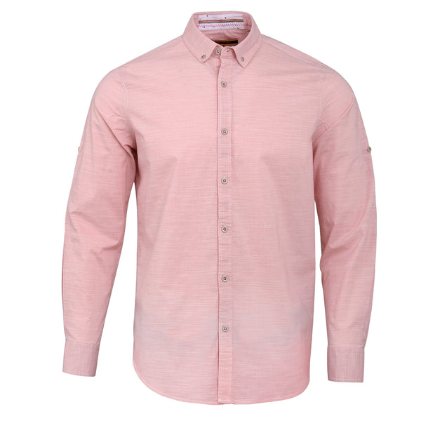 Light Pink Smart Fit Casual Full Sleeve Shirt-L