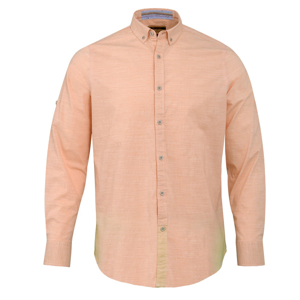 Orange Smart Fit Casual Full Sleeve Shirt-M
