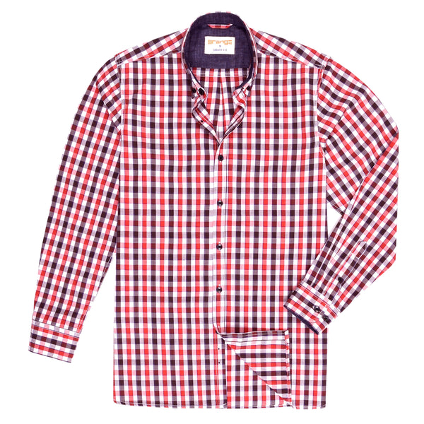 Red And Multi Check Smart Fit Casual Full Sleeve Shirt