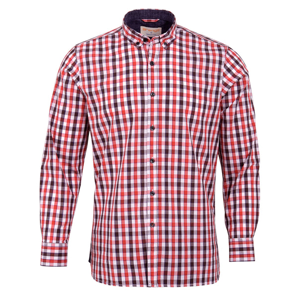 Red And Multi Check Smart Fit Casual Full Sleeve Shirt-L