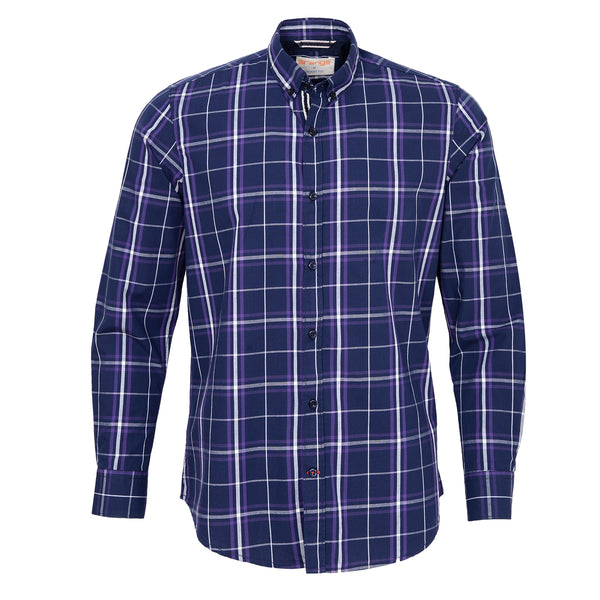 Multi Broad Check On Navy Blue Casual Full Sleeve Shirt-L