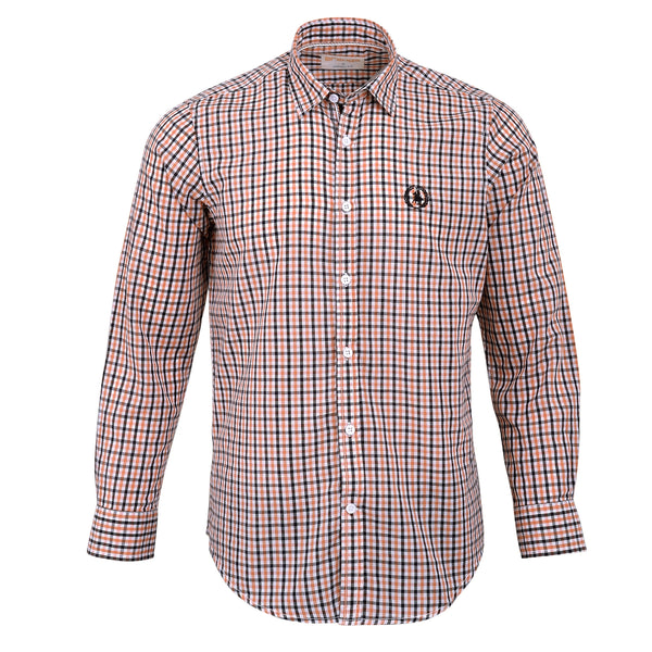 Orange And Multi Check Smart Fit Casual Full Sleeve Shirt-M