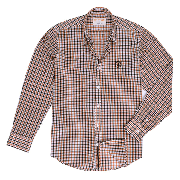 Orange And Multi Check Smart Fit Casual Full Sleeve Shirt