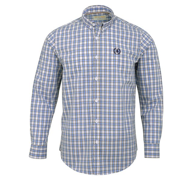 Sky Blue And Multi Check Smart Fit Casual Full Sleeve Shirt-L