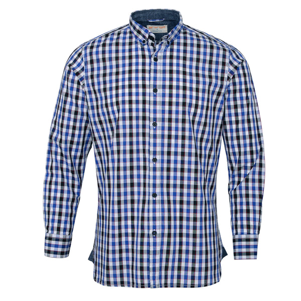 Royal Blue And Multi Check Button Down Casual Full Sleeve Shirt-M