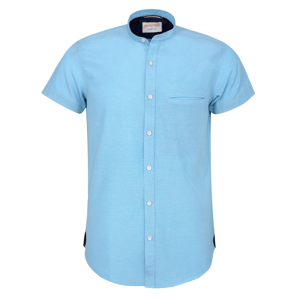 Aqua Blue Casual Half Sleeve Shirt-L
