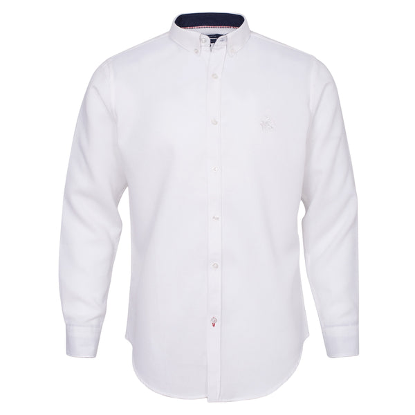 White Button Down Casual Full Sleeve Shirt-L