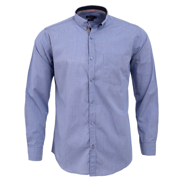 Blue Self Texture Full Sleeve Casual Smart Fit Shirt-L