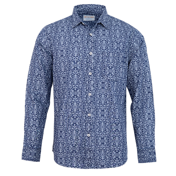 Blue Floral Casual Full Sleeve Shirt-L