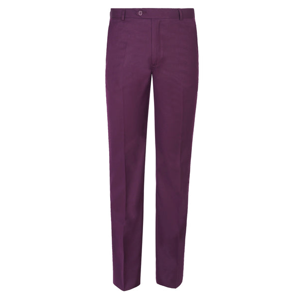 Burgundy Plain Classic Fit Formal Trouser -32