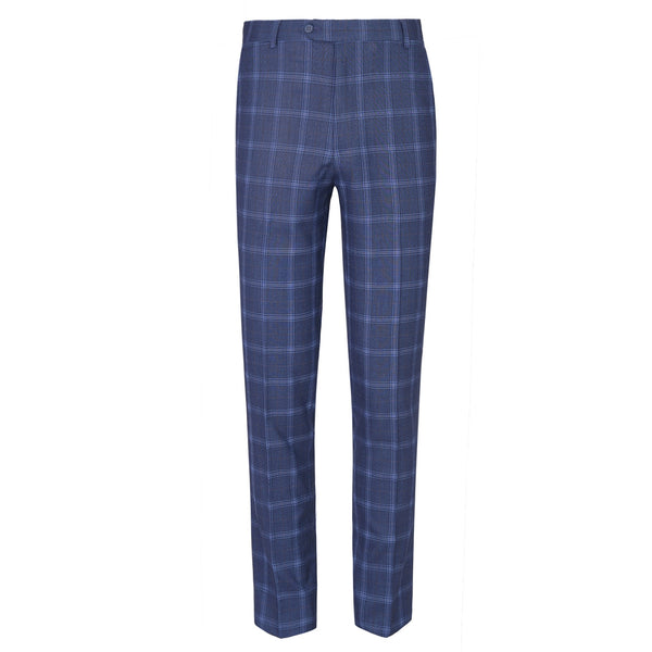 Light Blue Check Smart Fit Formal Trouser FT450-30