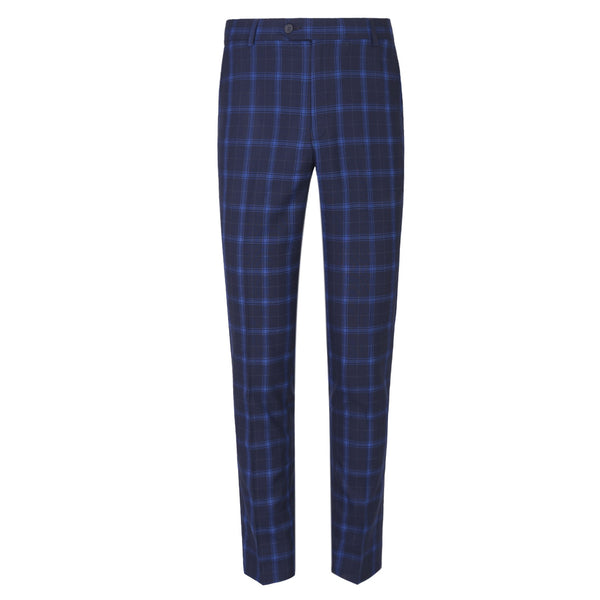 Navy Blue Check Smart Fit Formal Trouser FT454-30
