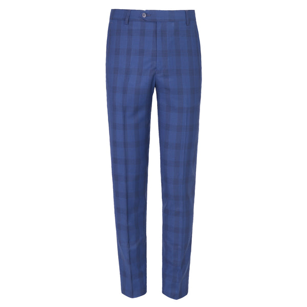Blue Check Smart Fit Formal Trouser FT455-30