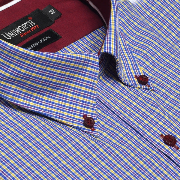 Royal Blue And Yellow Check Business Casual Full Sleeve Button Down Designer Shirt