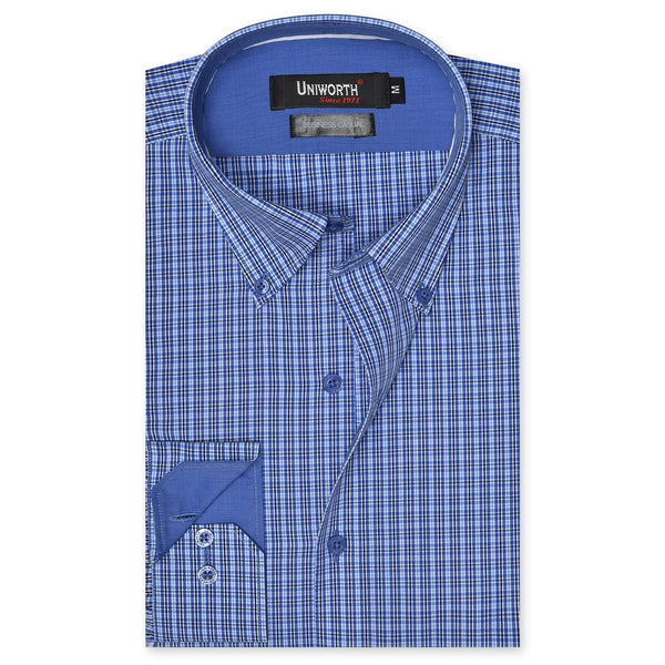 Black And Blue Check Business Casual Full Sleeve Button Down Designer Shirt SC2164-L