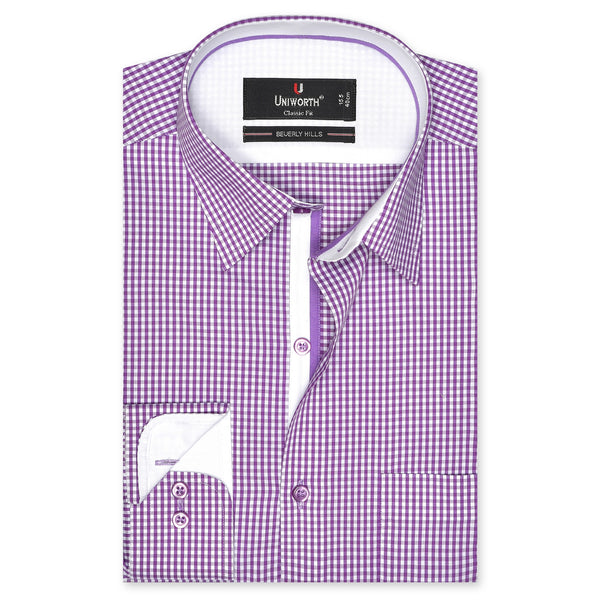 Beverly Hills Designer White And Purple Check Classic Fit Shirt FS702-1-14½