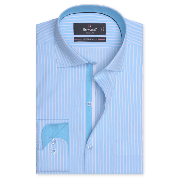Beverly Hills White And Aqua Striped Designer Classic Fit Shirt FS2520-14½