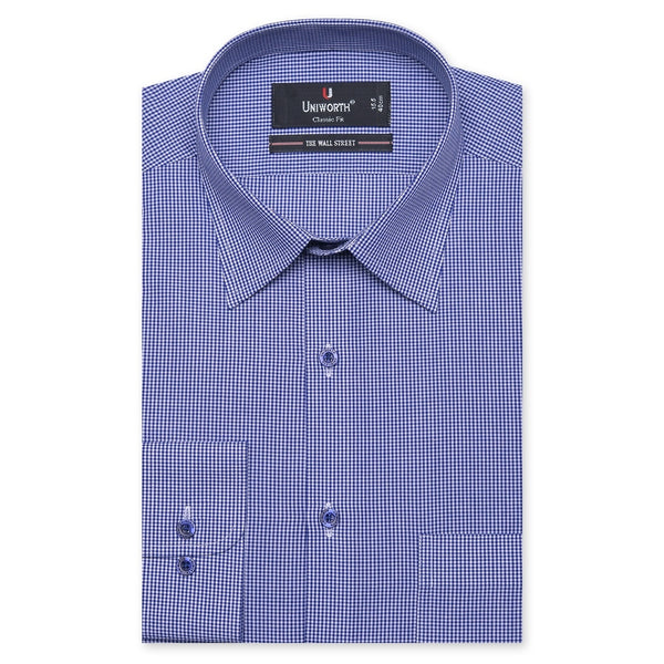 The Wall Street White And Blue Check Classic Fit Men's Dress Shirt FS767-14½
