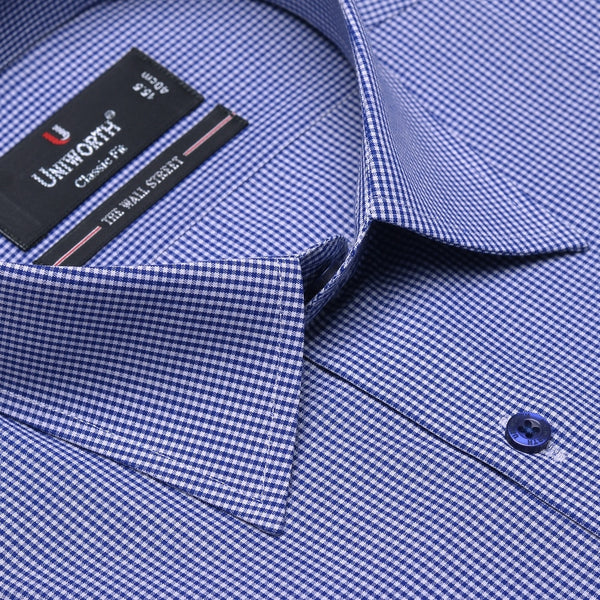 The Wall Street White And Blue Check Classic Fit Men's Dress Shirt