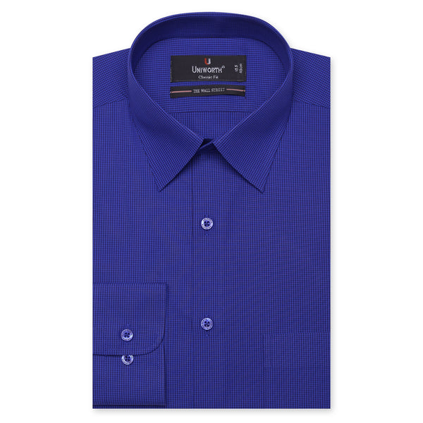 The Wall Street Black And Blue Check Classic Fit Dress Shirt FS698-2-14½