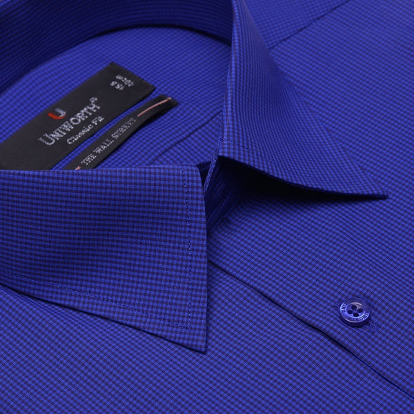 The Wall Street Black And Blue Check Classic Fit Dress Shirt