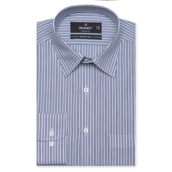 Beverly Hills White And Green Striped Classic Fit Dress Shirt FS2527-14½