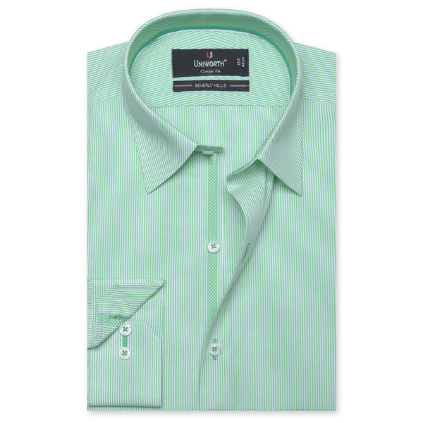 Beverly Hills White And Green Striped Classic Fit Dress Shirt FS2549-1-14½
