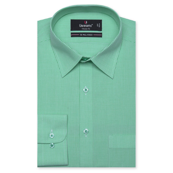 The Wall Street White And Green Check Classic Fit Men's Dress Shirt FS769-14½