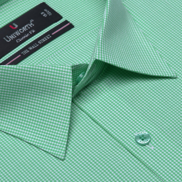 The Wall Street White And Green Check Classic Fit Men's Dress Shirt