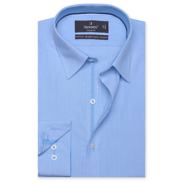 Beverly Hills White And Aqua Striped Classic Fit Dress Shirt FS2550-1-14½