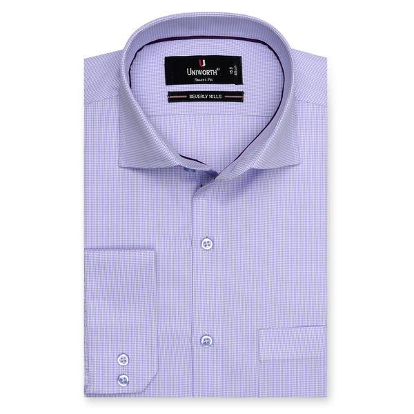 Beverly Hills Mauve And White Check Smart Fit Dress Shirt-14½