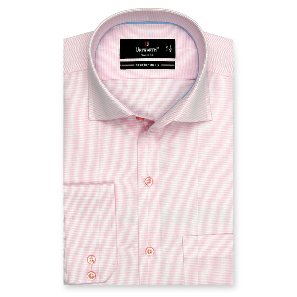 Beverly Hills Pink And White Check Smart Fit Dress Shirt-15.5