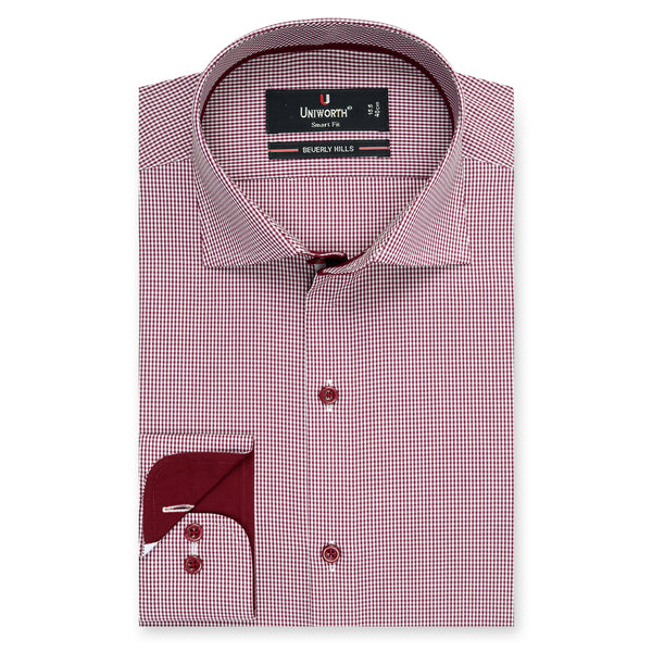 Beverly Hills Crimson And White Check Smart Fit Dress Shirt-16