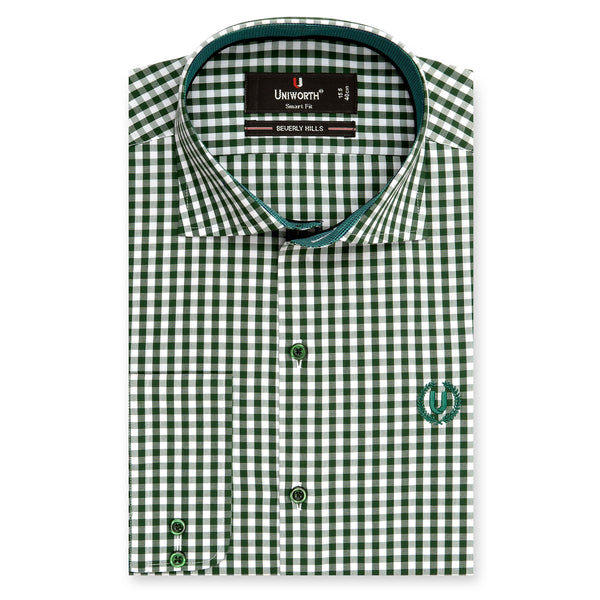 Beverly Hill Green And White Check Smart Fit Dress Shirt-14.5