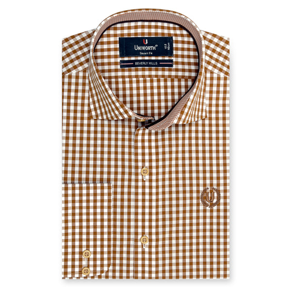 Beverly Hill Brown And White Check Smart Fit Dress Shirt-14½