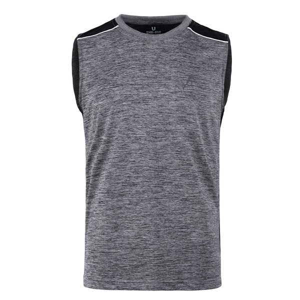 Light Grey And Black Gym Sleeveless Tee-L