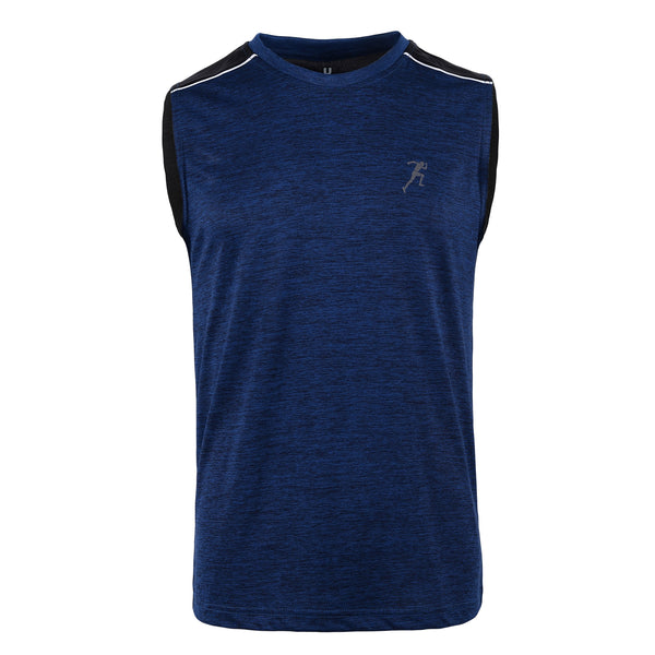 Navy Blue And Black Gym Sleeveless Tee-L