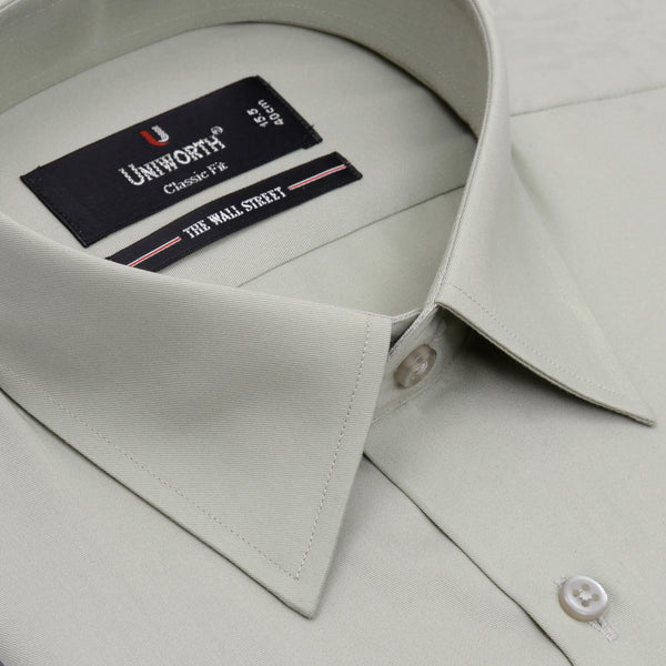 The Wall Street Light Green Plain Classic Fit Dress Shirt