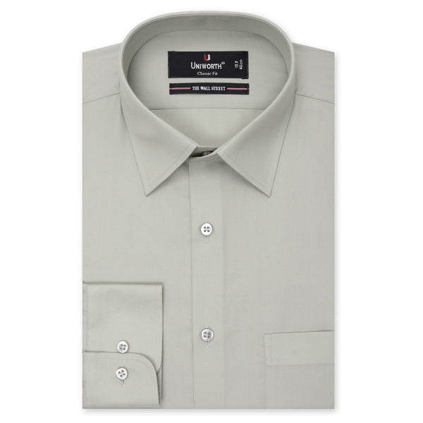 The Wall Street Light Green Plain Classic Fit Dress Shirt-14.5