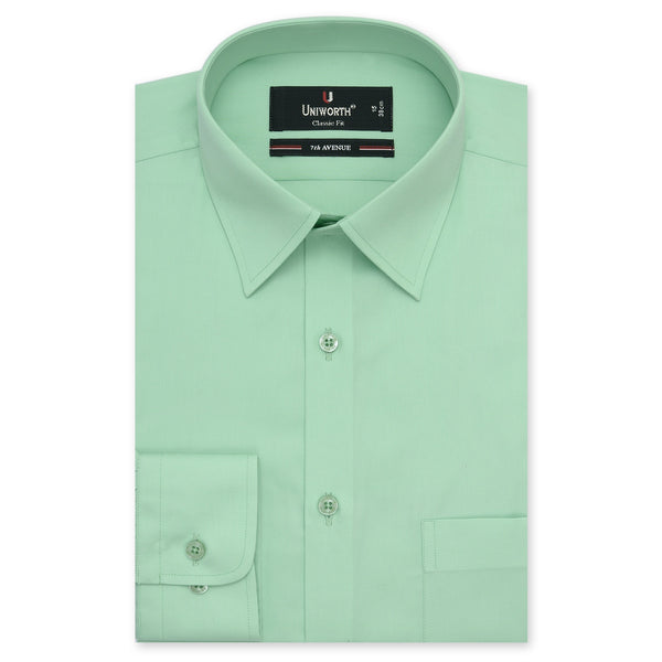 7th Avenue Lime Green Plain Classic Fit Dress Shirt-14.5