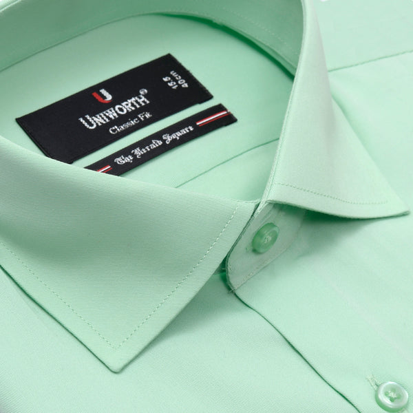 The Herald Square Lime Green Plain Classic Fit Dress Shirt