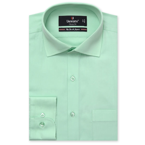 The Herald Square Lime Green Plain Classic Fit Dress Shirt-16