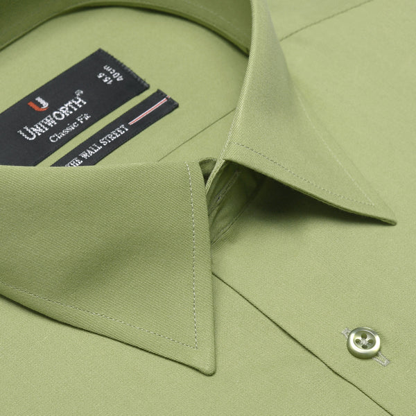 The Wall Street Dark Olive Plain Classic Fit Dress Shirt