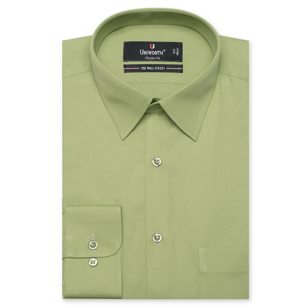 The Wall Street Dark Olive Plain Classic Fit Dress Shirt FS1249-2-14½